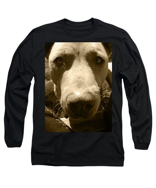 Long Sleeve T-Shirt featuring the photograph Roscoe Pitbull Eyes by Kym Backland
