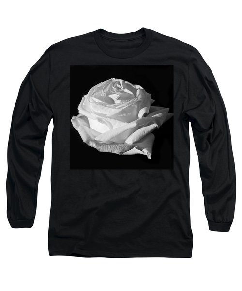 Long Sleeve T-Shirt featuring the photograph Rose Silver Anniversary Monochrome by Steve Purnell