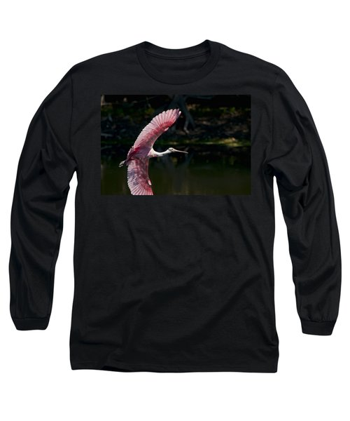 Long Sleeve T-Shirt featuring the photograph Roseate Spoonbill by Steven Sparks