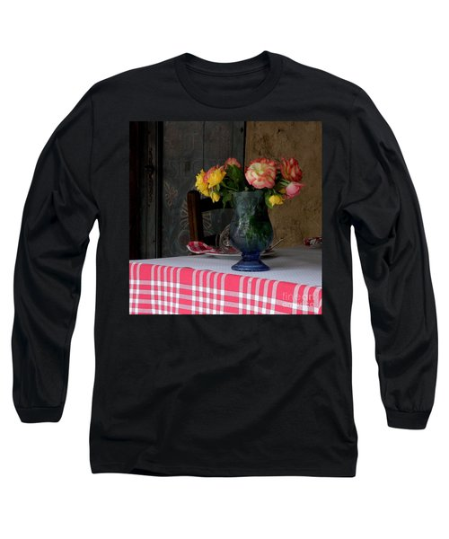 Long Sleeve T-Shirt featuring the photograph Roses In Blue Glass Vase by Lainie Wrightson