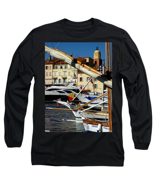 Long Sleeve T-Shirt featuring the photograph Saint Tropez Harbor by Lainie Wrightson