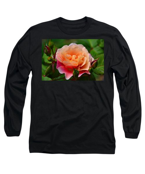 Sherbet Rose Long Sleeve T-Shirt by Bonnie Myszka