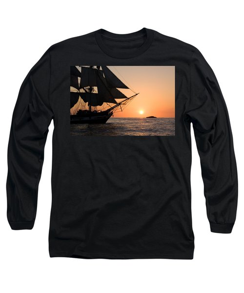 Silhouette Of Tall Ship At Sunset Long Sleeve T-Shirt