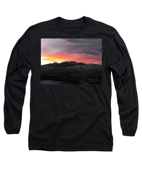 Snow Covered Mountain Sunset Long Sleeve T-Shirt