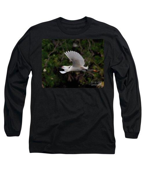 Snowy Egret In Flight Long Sleeve T-Shirt