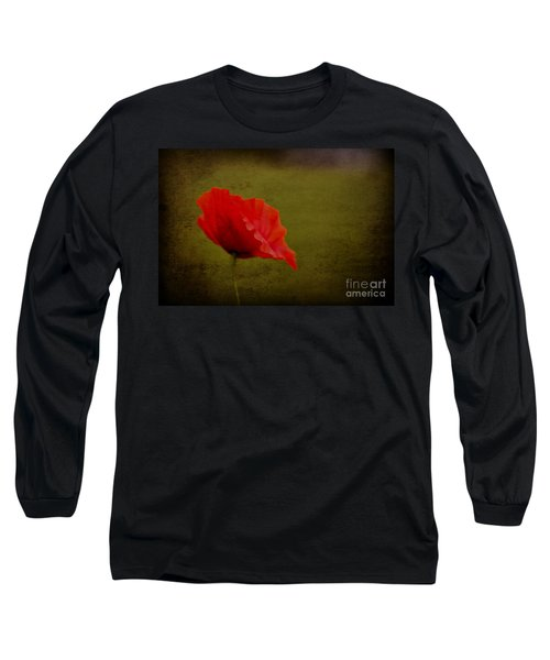 Long Sleeve T-Shirt featuring the photograph Solitary Poppy. by Clare Bambers