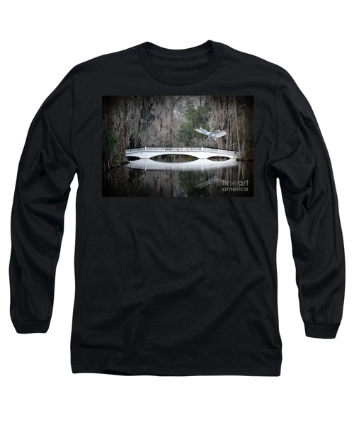 Long Sleeve T-Shirt featuring the photograph Southern Plantation Flying Egret by Dan Friend