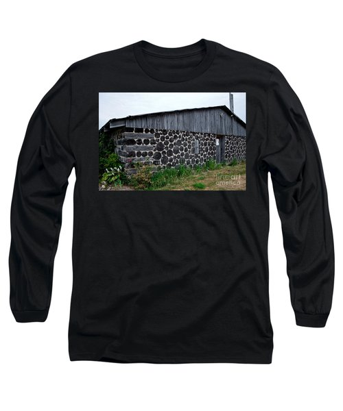 Long Sleeve T-Shirt featuring the photograph Stacked Block Barn by Barbara McMahon