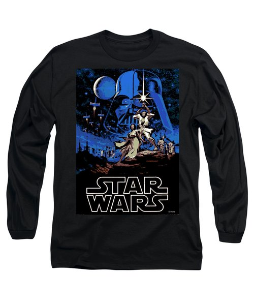 Star Wars Poster Long Sleeve T-Shirt by George Pedro