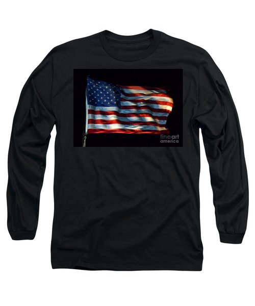 Stars And Stripes At Night Long Sleeve T-Shirt by Kevin Fortier