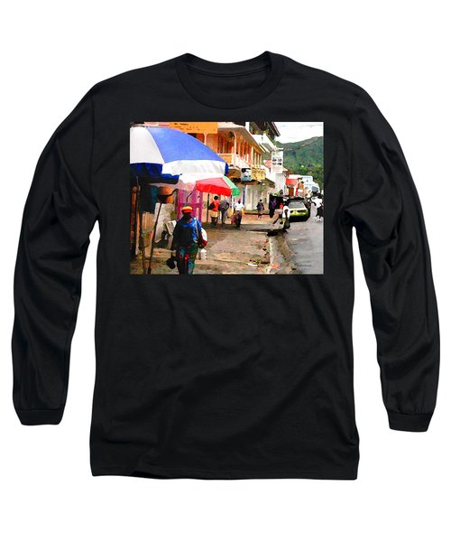Street Scene In Rosea Dominica Filtered Long Sleeve T-Shirt