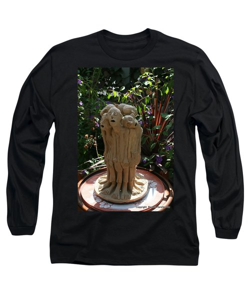 Suffering Circle Ceramic Sculpture Brown Clay  Long Sleeve T-Shirt