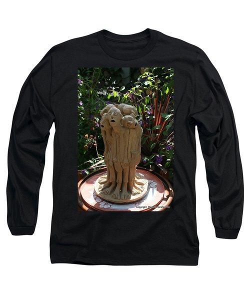Suffering Circle Ceramic Sculpture Brown Clay  Long Sleeve T-Shirt by Rachel Hershkovitz