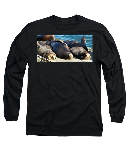Long Sleeve T-Shirt featuring the photograph Sunbathing Sea Lions by Chalet Roome-Rigdon