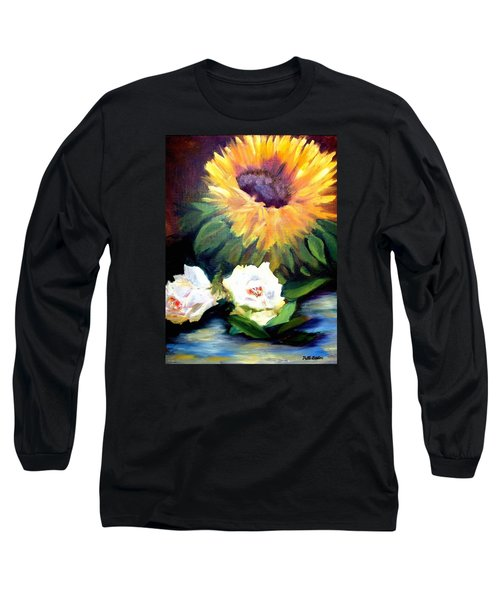 Sunflower And White Roses Long Sleeve T-Shirt