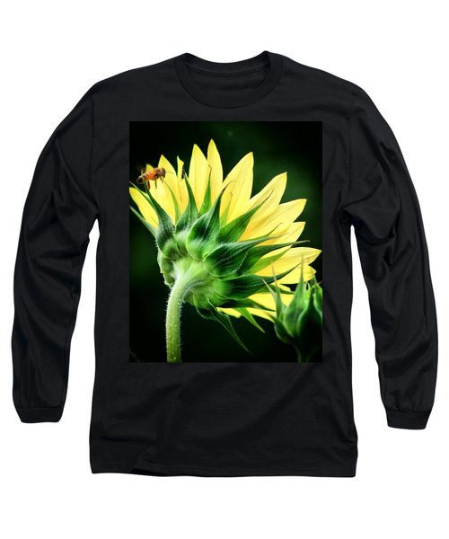 Sunflower With Bee Long Sleeve T-Shirt by Lynne Jenkins