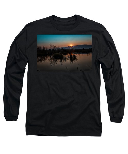 Sunrise Over The Beaver Pond Long Sleeve T-Shirt by Ronald Lutz