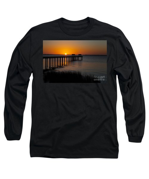 Sunset Across Currituck Sound Long Sleeve T-Shirt by Ronald Lutz