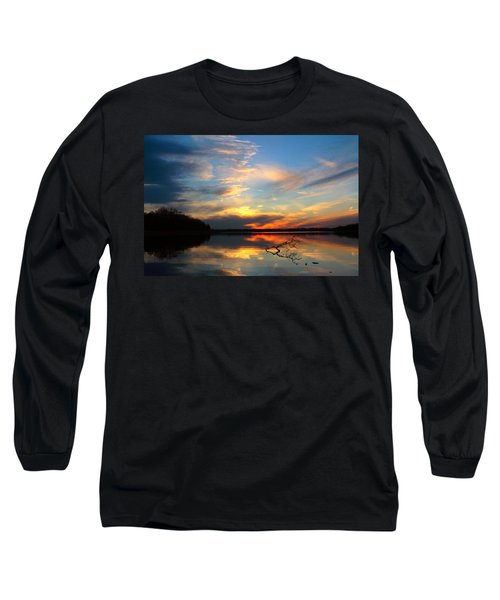 Sunset Over Calm Lake Long Sleeve T-Shirt by Daniel Reed
