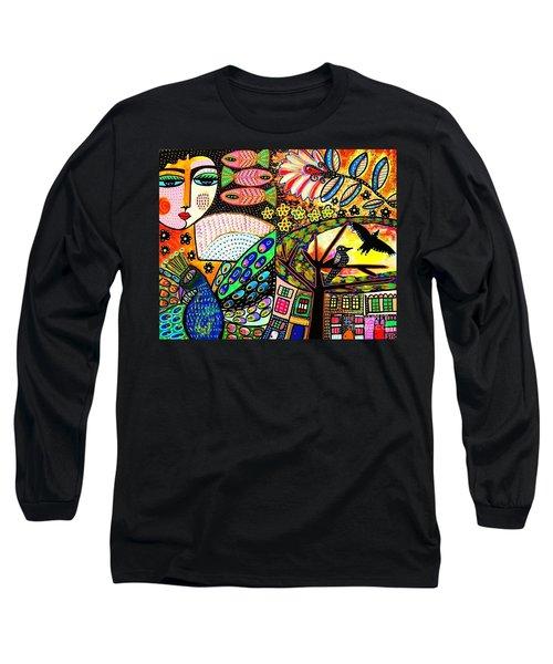 -sunset Peacock Goddess Long Sleeve T-Shirt