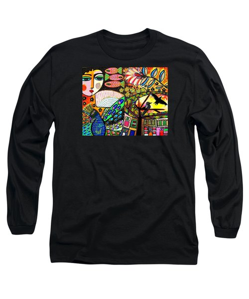-sunset Peacock Goddess Long Sleeve T-Shirt
