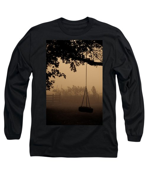 Long Sleeve T-Shirt featuring the photograph Swing In The Fog by Cheryl Baxter