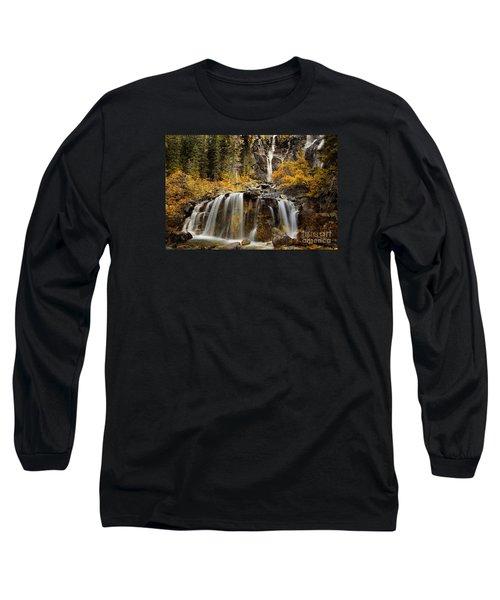 Tangle Falls, Jasper National Park Long Sleeve T-Shirt by Keith Kapple