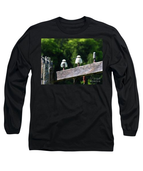 Long Sleeve T-Shirt featuring the photograph Telephone Pole And Insulators by Sherman Perry