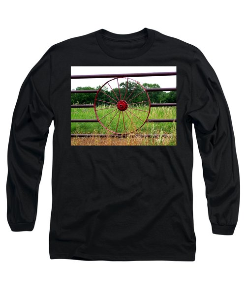 Long Sleeve T-Shirt featuring the photograph Texas Wildflowers Through Wagon Wheel by Kathy  White