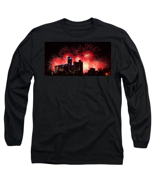 Long Sleeve T-Shirt featuring the photograph The 54th Annual Target Fireworks In Detroit Michigan - Version 2 by Gordon Dean II