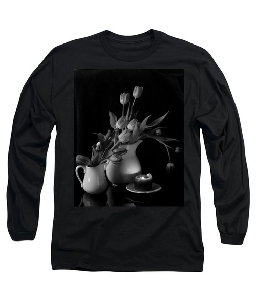 Long Sleeve T-Shirt featuring the photograph The Beauty Of Tulips In Black And White by Sherry Hallemeier