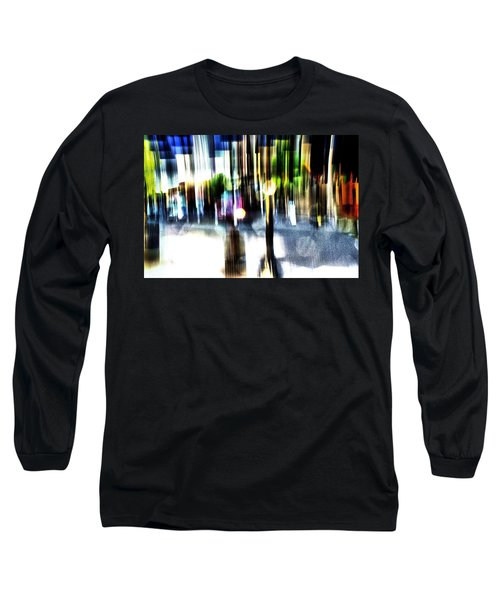 Long Sleeve T-Shirt featuring the mixed media The Man In The Door by Terence Morrissey