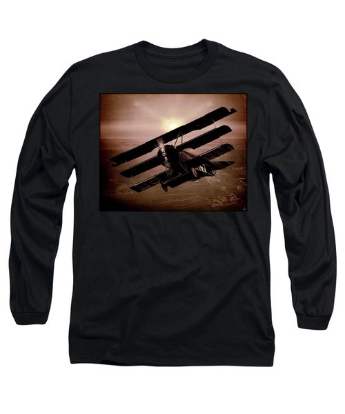 Long Sleeve T-Shirt featuring the photograph The Red Baron's Fokker At Sunset by Chris Lord