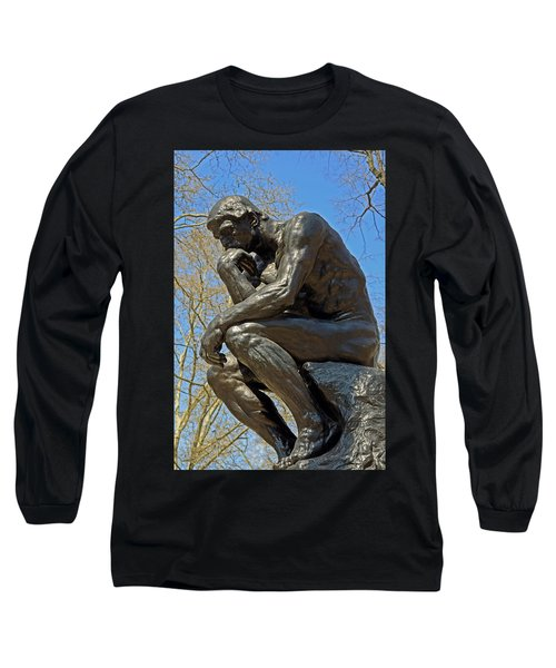 The Thinker By Rodin Long Sleeve T-Shirt by Lisa Phillips