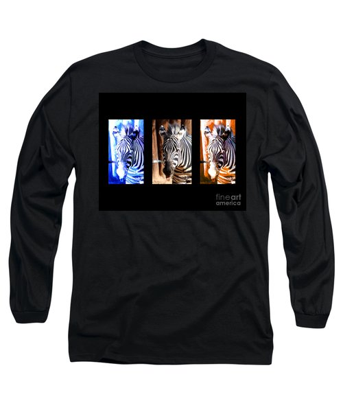 Long Sleeve T-Shirt featuring the photograph The Three Zebras Black Borders by Rebecca Margraf