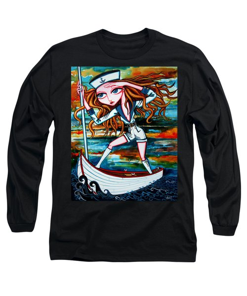Long Sleeve T-Shirt featuring the painting The Voyager by Leanne Wilkes