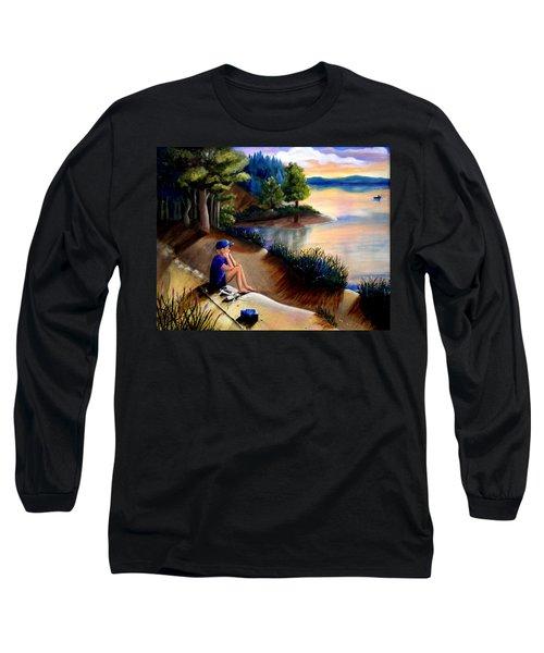 The Wish To Fish Long Sleeve T-Shirt by Renate Nadi Wesley