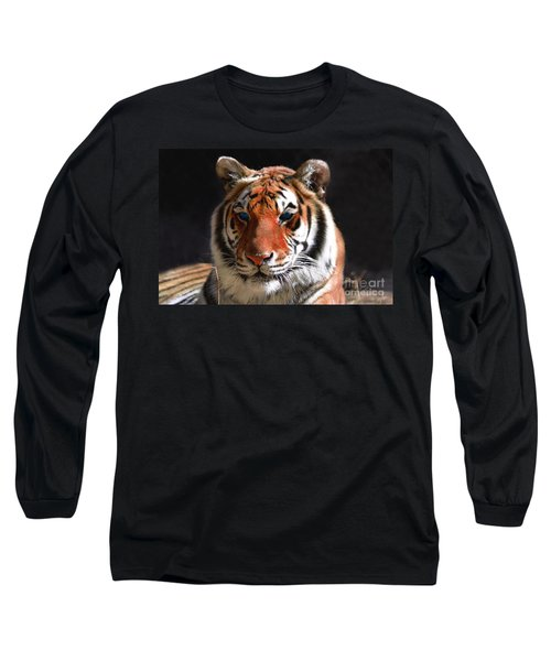 Tiger Blue Eyes Long Sleeve T-Shirt by Rebecca Margraf