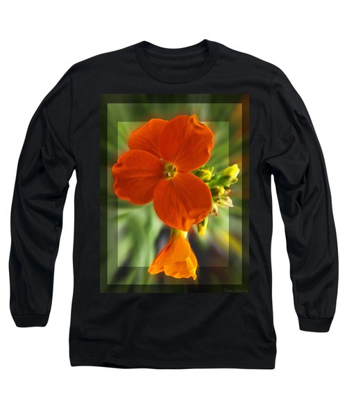 Long Sleeve T-Shirt featuring the photograph Tiny Orange Flower by Debbie Portwood