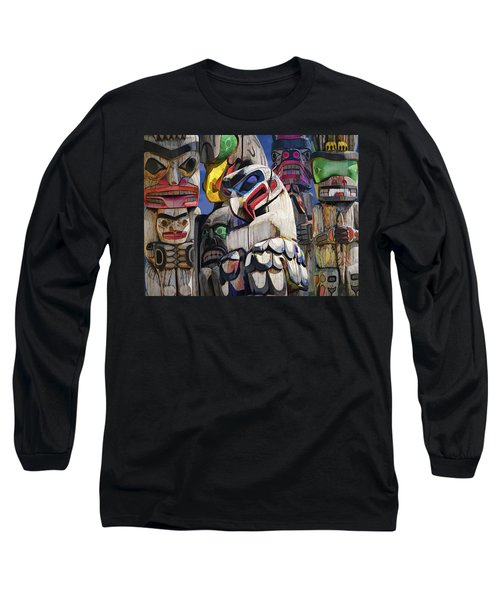 Totem Poles In The Pacific Northwest Long Sleeve T-Shirt