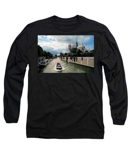 Long Sleeve T-Shirt featuring the photograph Tour Boat Passing Notre Dame by Dave Mills