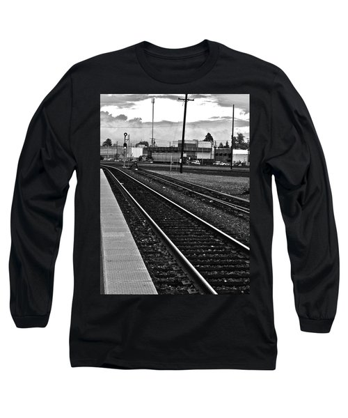 train tracks - Black and White Long Sleeve T-Shirt by Bill Owen