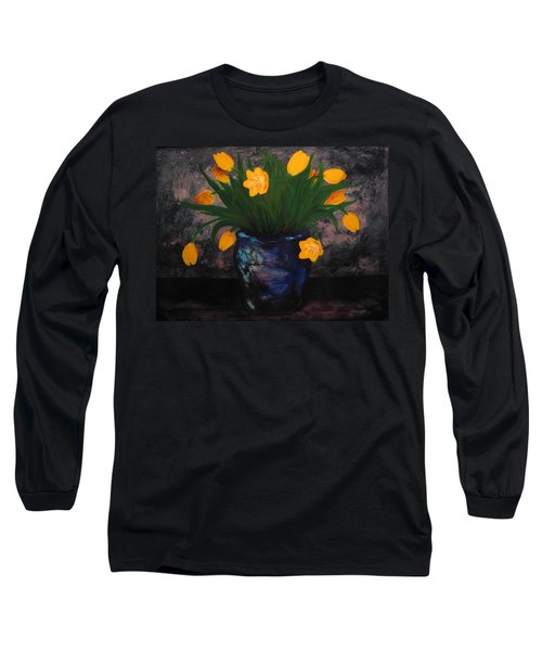 Tulips In Blue Long Sleeve T-Shirt