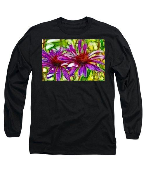 Two Purple Daisy's Fractal Long Sleeve T-Shirt by Donna Greene