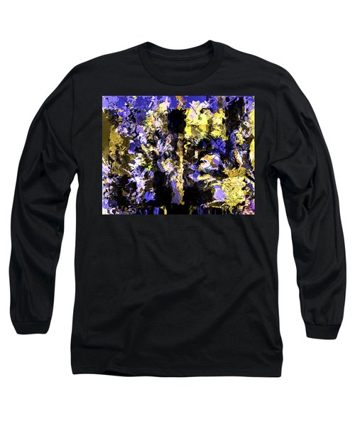 Long Sleeve T-Shirt featuring the mixed media Untitled Blue by Terence Morrissey
