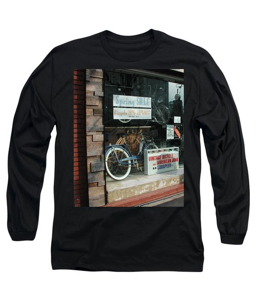 Vintage Bicycle And American Junk  Long Sleeve T-Shirt by Anna Ruzsan