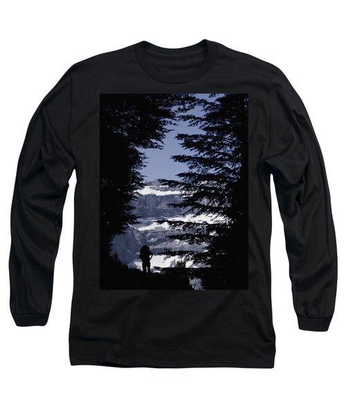Walker Climbing Up Hill Between Trees Long Sleeve T-Shirt