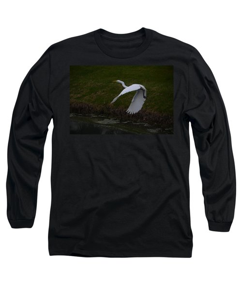 White Egret Long Sleeve T-Shirt by Randy J Heath