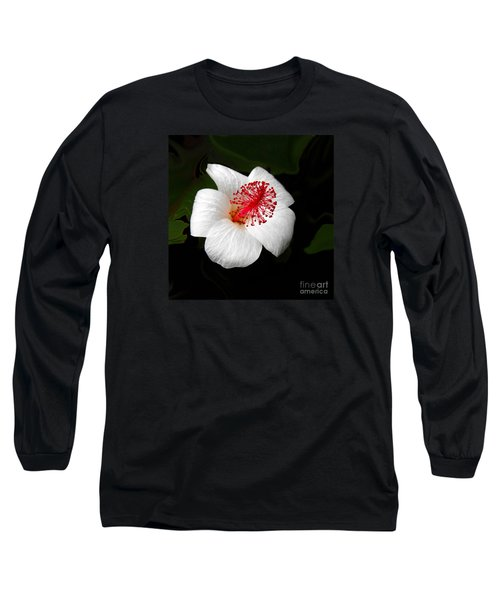 Long Sleeve T-Shirt featuring the photograph White Hibiscus Flower by Rebecca Margraf