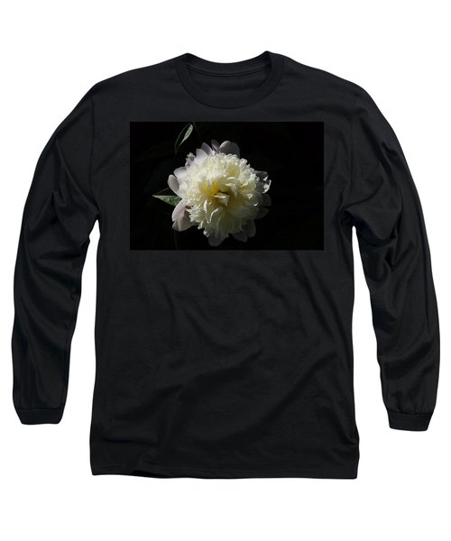 White On Black Peony Long Sleeve T-Shirt
